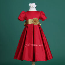 RED/GOLD CHRISTMAS HOLIDAY PLEATED WEDDING FLOWER GIRL DRESS 6M-18M 2 4 6 8 10