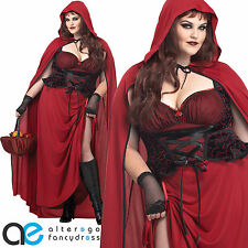 LADIES DARK RED RIDING HOOD PLUS SIZE HALLOWEEN FANCY DRESS COSTUME OUTFIT XXXL