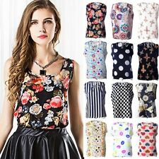 Women Plus Size S-XXXL New Loose Sleeveless Floral Chiffon Tops Blouses Vest