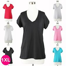 Womens Plus Size Solid Basic V Neck T-Shirt Short Sleeve Top Stretch Fitted 1XL