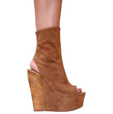 "6"" BROWN SUEDE w/WOOD WEDGE PLATFORM ANKLE BOOTS - Sz 4-14"
