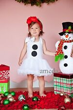 Baby Girls Xmas Snowman Costume White Petti Pettiskirt Tutu Party Dress 1-4Y