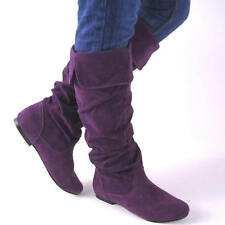 NEW PURPLE KNEE HIGH WOMENS SLOUCH BOOTS