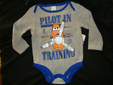 """DISNEY PLANES """"DUSTY"""" long sleeve bodysuit NWT """"PILOT IN TRAINING""""  NEW FOR FALL"""