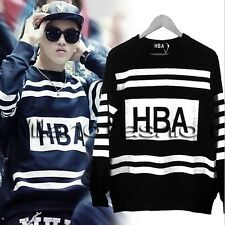 2014 EXO Kris HBA Hoodies autumn Stripe O Neck Sweater HBA Sweatshirts Pullover