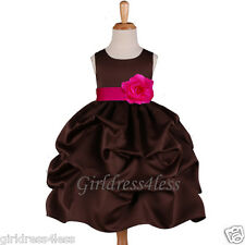 BROWN/FUCHSIA HOT PINK PICKUP WEDDING FLOWER GIRL DRESS 6M 12M 18M 2 4 6 8 10 12