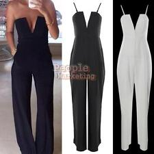 P4PM NEW Womens V Neck Strapless Sleeveless Bodycon Jumpsuit Romper Clubwear