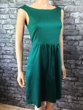 Womans Fashion Elegant Sleeveless Green Cotton Satin Shift Dress Sizes 8 - 20