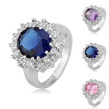 Princess 3 Colors Oval Gemstone Classic Retro Rings Banquet Accessory 28j0
