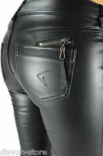 Women's Trousers Pants Faux-Leather Straight Leg Jeans