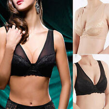 Sexy Hot Push Up Underwired Deep V Lace Mesh Full Cup Comfy Bra Lingerie Vest