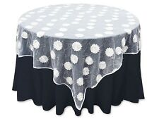 """72"""" Square Satin Flowers with Sequins on Lace TABLE OVERLAY Wedding Party Linens"""