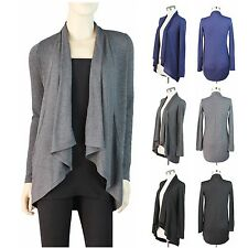 Long Sleeve Open Draped Cascade Cardigan Sweater Hacci Knit Casual Solid S M L
