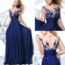 Long Blue Applique Evening Prom Gown Cocktail Party Formal Lace Wedding Dress