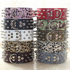 Pink Leopard Leather Spiked Studded Dog Collars For Pitbull Terrier Pet Collars