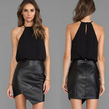 Black Sleeveless Women's Slim Fit Pub Evening Party Wear To Work Summer Dresses