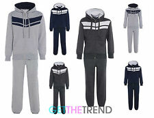 Mens Boys Kids Stripe Casual Fleece Lined Full Length Tracksuit Hoodie Bottoms