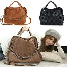 2014 Faux Leather Weave Style Korean Shoulder Zippered Womens Sling Bag