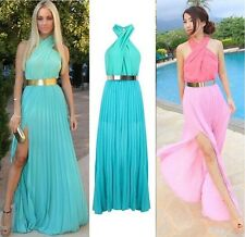 Women Dresses Summer Long Sexy Irregular Sleeveless Bandage Halter Skirt Dress
