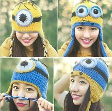 Hot Despicable Me Minions Handmade Crochet Beanie Knit Wool Hat Ski Cap For Girl