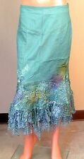 WEST 36TH TURQUOISE DENIM FISHNET LACE BEADED RHINESTONE JEANS SKIRT SIZE SK708