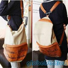 Vintage Women's Canvas Backpack Leather School Bags Satchel Shoulder Bag Hobo