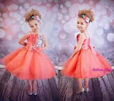 Coral Diamante Sequins Wedding Flower Girl Pageant Party Dress Size 2T-9 FG304