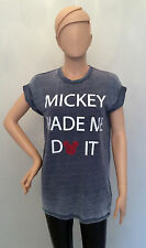 """Ladies DISNEY MICKEY MOUSE """"Mickey Made Me Do It"""" Slogan T shirt from PRIMARK"""