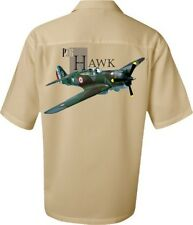 Airplane Shirt - P-36 Hawk WWII Fighter Jet-Men's Aviation Shirt in Stone color