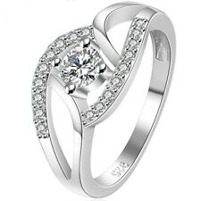 925 Sterling Silver Plated Ring Wedding Engagement Size 4 5 6 7 8 9 10 11 Bridal