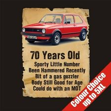 70 Year Old VW Golf Funny 70th Birthday Gift Vintage T-Shirt 16 Colours - to 5XL