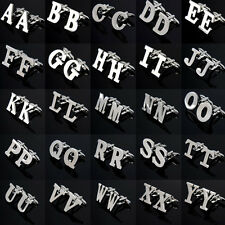 1Pair Lot Novelty Initials Letters Stainless Wedding Gift Mens Silver Cuff Links