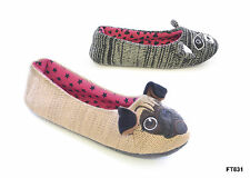 LADIES WOMEN BLACK CAT PUG DOG KNITTED VELOUR FUR WARM COSY SLIPPERS SIZE UK 3-8