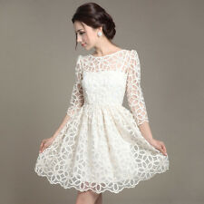 White Sexy Lace Womens Evening Casual Graduation Party Clubwear Cocktail Dress