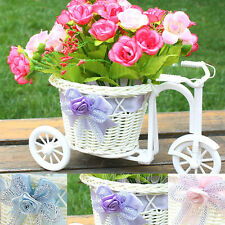 Rattan Bike Flower Basket Plant Vase Storage Home Table Wedding Party Decor