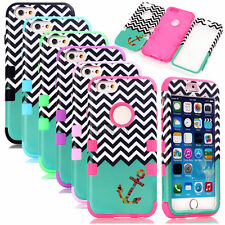 Chevron Anchor Hybrid High Impact Rugged Combo Matte Case Cover For iPhone 6 6S