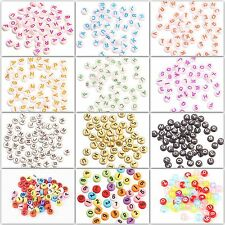 50pcs 4x7mm Acrylic Mixed Alphabet Letter Coin Round Flat Spacer Beads