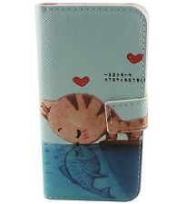 Cat Kiss Fish Stand Flip Leather Case Cover for iPhone4 4S Samsung Galaxy S3 S4