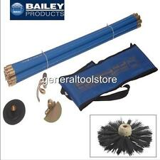 BAILEY CHIMNEY FLUE AND DRAIN SWEEPING BRUSH SET, RODS, CARRY BAG, WORM, PLUNGER