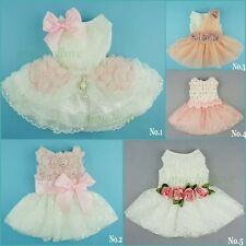 Fairy Wedding Dress Pet Clothes Pink Rose White Lace Dog Apparel Bridal Dress