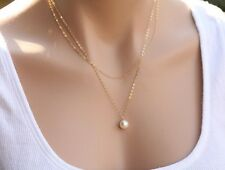 Elegant Gold Silver Faux  Pearl Bead Pendant Charm Necklace Chain Evening Party