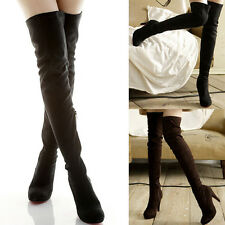 Lady Suede Zip High Heels Pump Platform Stiletto Thigh High Over The Knee Boots