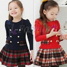 Xmas Kid Toddlers Girls Lovely Plaid Long Sleeve Cotton Pleated Skirt Dress 3T-7