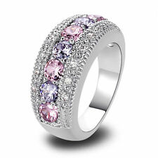 Morganite Pink Topaz Multi Gemstone Silver Jewelry Women's Ring Size 6 7 8 9 10