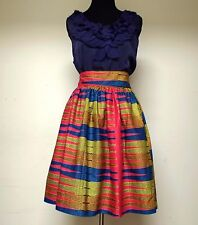 Full High-Waist Ankara African Print Ethnic Skirt - Pink, Blue, Gold