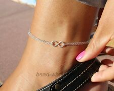 Cute  Silver Plated Lucky Forever Infinity Charms Anklet Chain Foot  Bracelet
