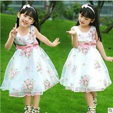 Rose Wave Pageant Girls Dress New Pink FlowerWedding Party Kids Clothing White