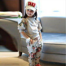2014 Spring Fall Baby Girls Clothing Outfit Sets Flower Suit Kids Tracksuit 3-8Y