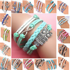 Chic DIY Hot Infinity Owl Leather Cute Charm Bracelet Bronze Silver Custom Style