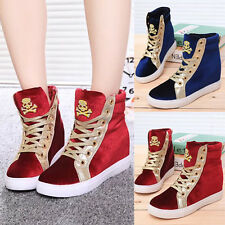 Womens Sneakers Platform Lace Up Hidden Heels Casual Running Sports Girl Shoes
